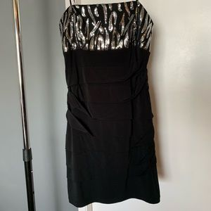 like new black/silver sequin strapless dress 6/$14